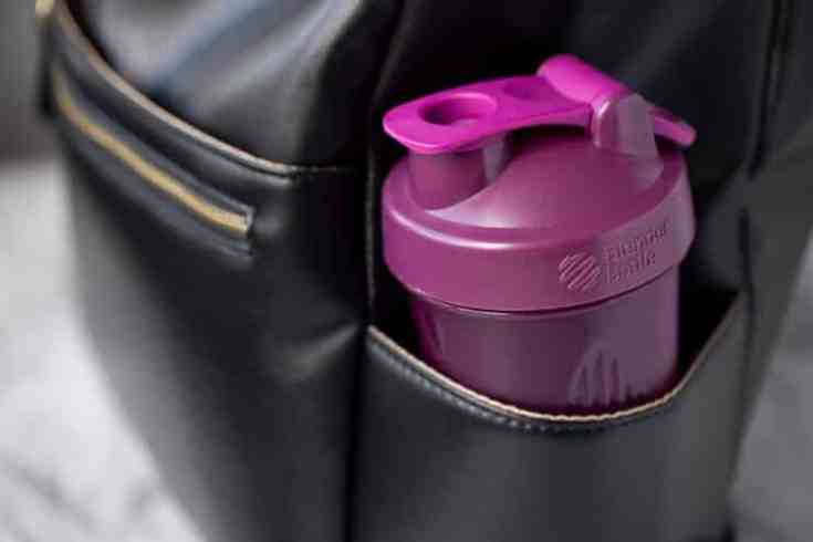 purple to go bottle with protein shake
