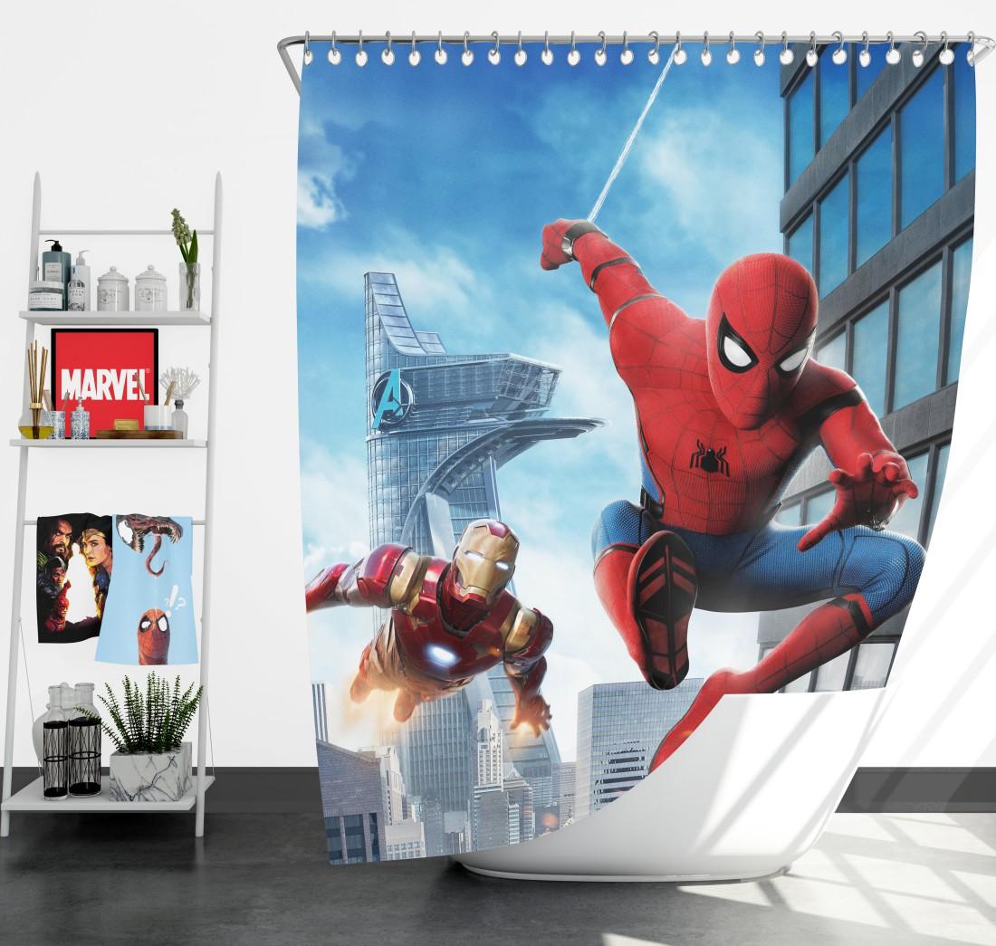 spider man homecoming iron man shower curtain