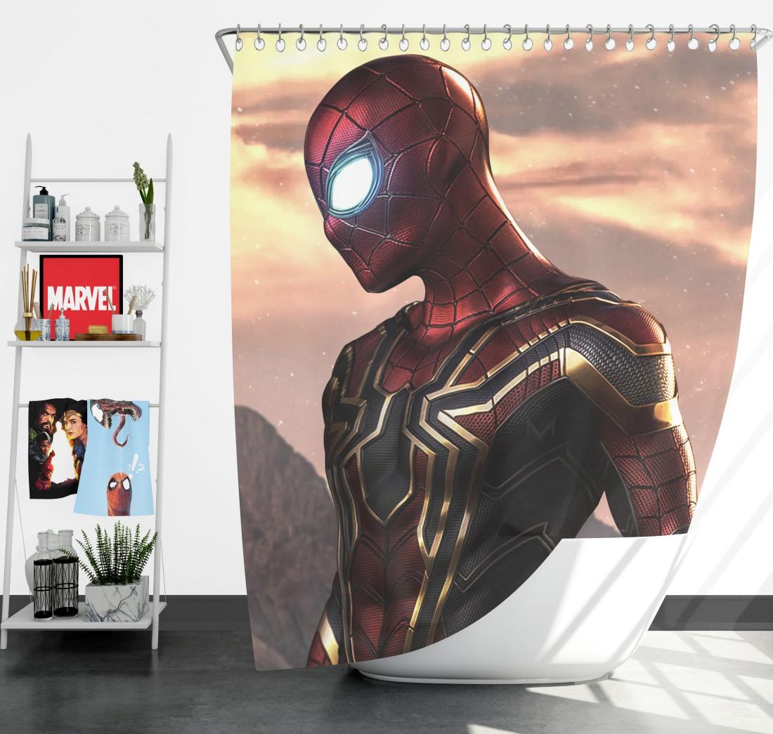 SpiderMan Iron Spider Marvel Avengers Infinity War Shower Curtain  Super Heroes Bedding