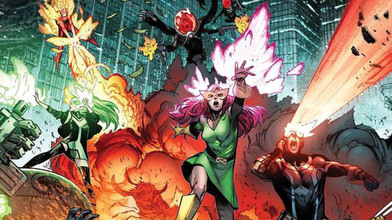 We have several members of the current X-Men roster, Sunfire, Polaris, Jean Grey, and Cyclops, defending New York City from an unseen enemy.
