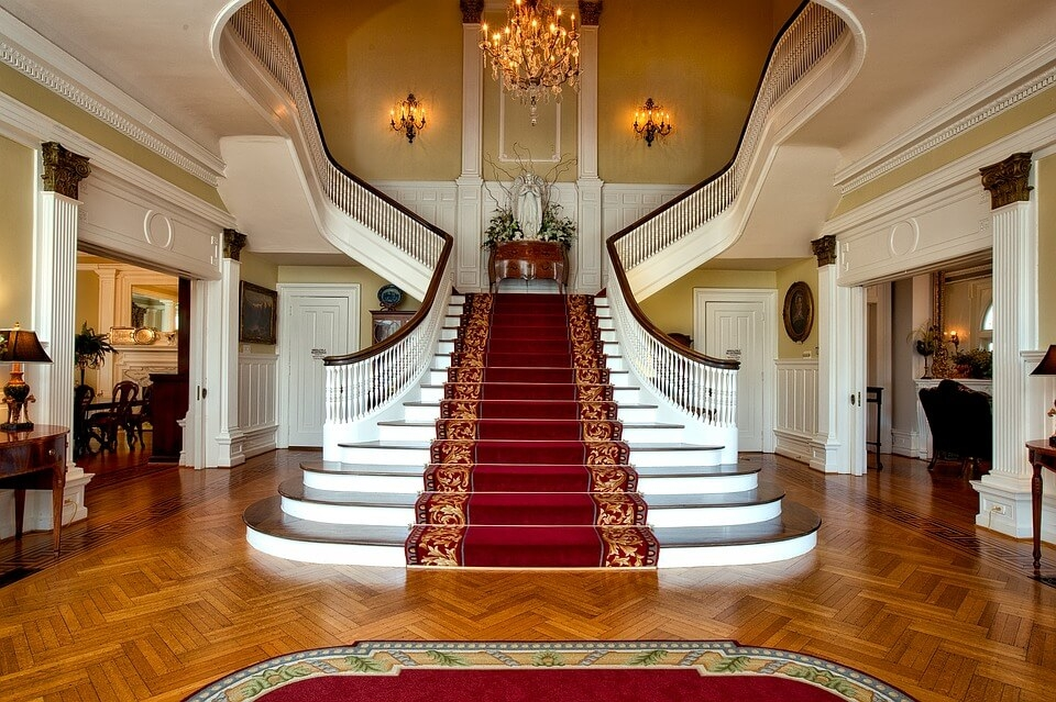 44 Beautiful And Unique Stair Design Ideas For Home   Home Front Stairs Design   Porch Attached Horizontal Staircase Tower   Parapet Wall   Sitout Step   Front Window   Interior