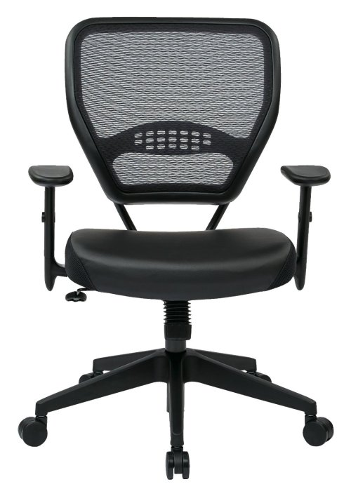 Office Star Space Professional Air Grid Back Managers Chair with Eco Leather Seat and 2-to-1 Synchro Tilt Control
