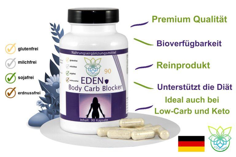 VITARAGNA Eden Body Carb-Blocker 90 Kapseln, der Kohlenhydratblocker bindet Kohlenhydrate mit Bockshornkleesamen und Bohnenpulver als Extrakt, clean, rein, glutenfrei, sojafrei, milchfrei, erdnussfrei