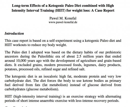 Long-term Effects of a Ketogenic Paleo Diet combined with High Intensity Interval Training (HIIT) for weight loss: A Case Report - Pawel M. Konefal