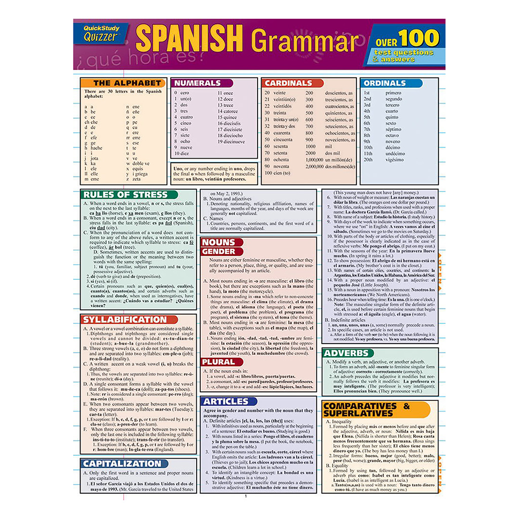 Quick Study Spanish Grammar