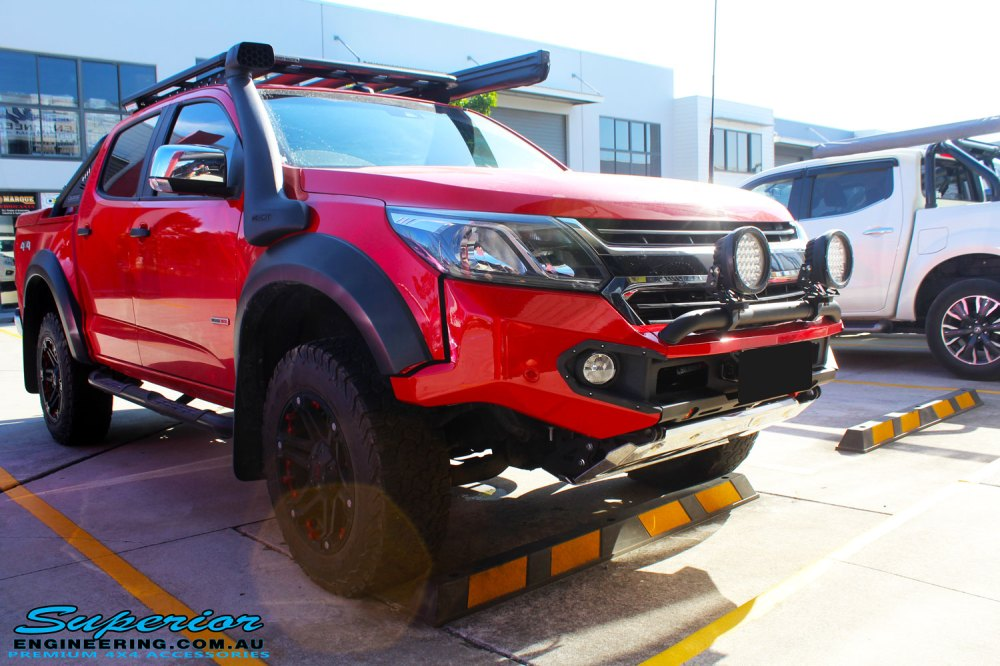 medium resolution of front right corner view of a holden rg colorado dual cab in red after fitment of