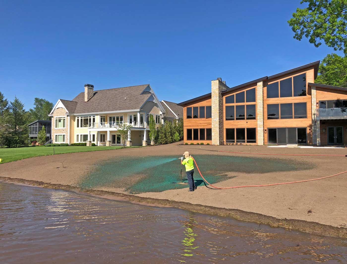 hydroseeding a residential lawn