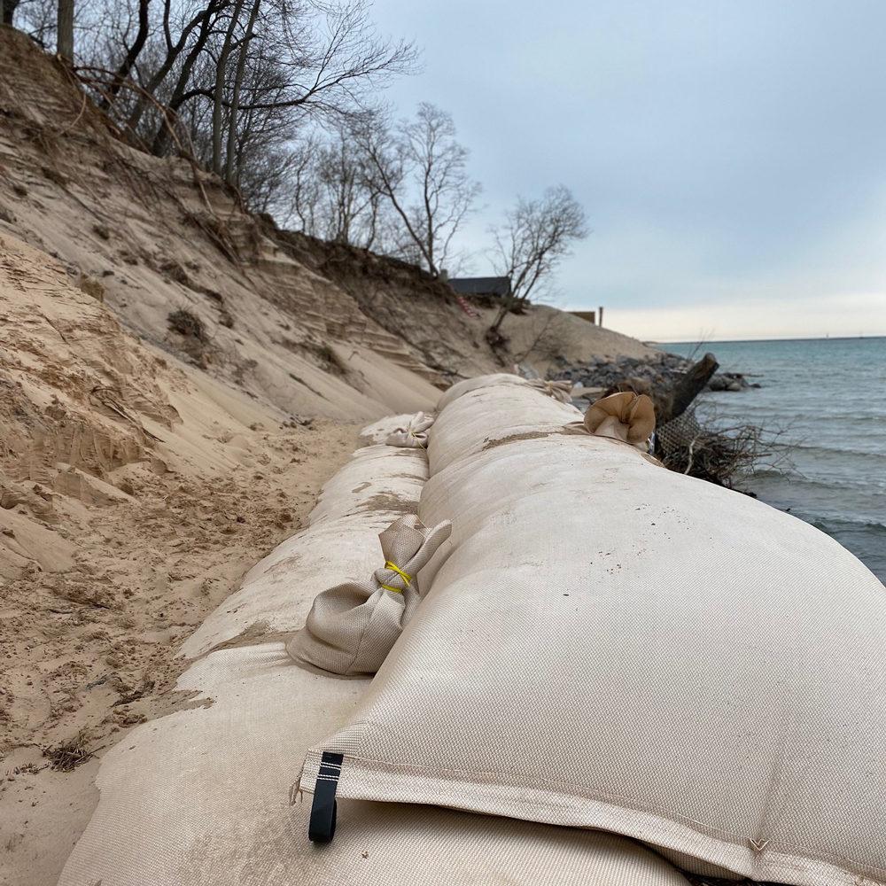 Sand Tubes on Lake Michigan to control erosion