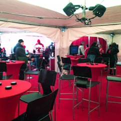 Chair Cover Rentals Red Deer Bean Bag Kit Event Rental Furniture From Superior Show Service Outdoor Events Provide Lounges In Tent With Covered Cruiser Tables And Black Leather Stools