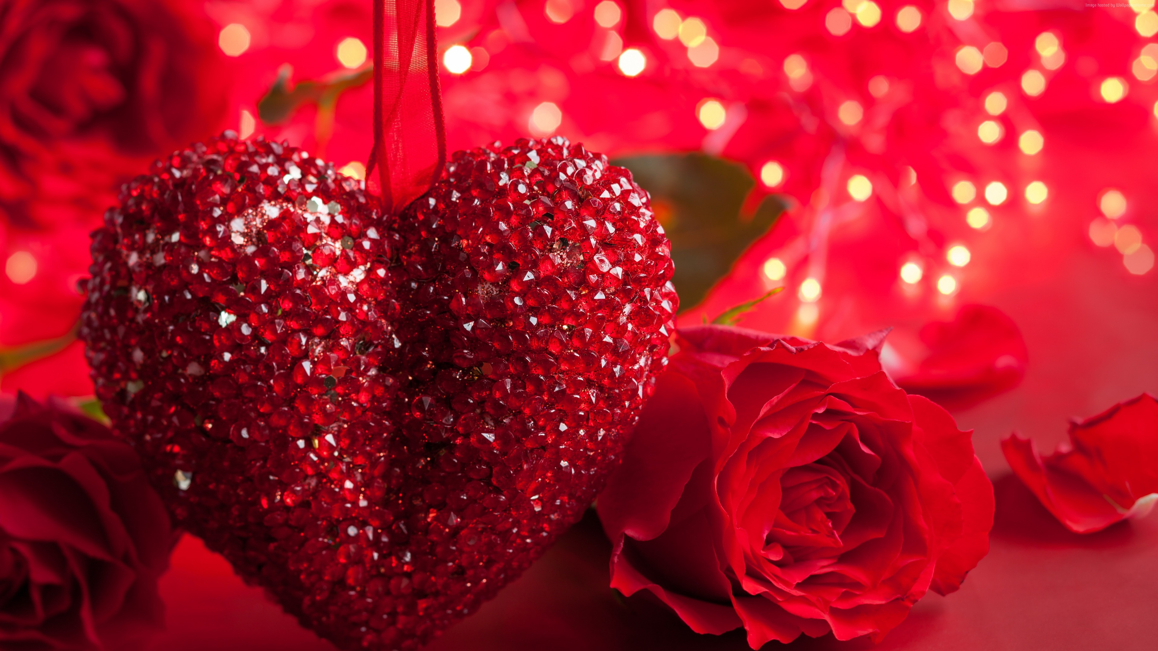 Cute 3d Cartoon Wallpapers Beautiful Big Red Neckless Heart Love And Red Roses