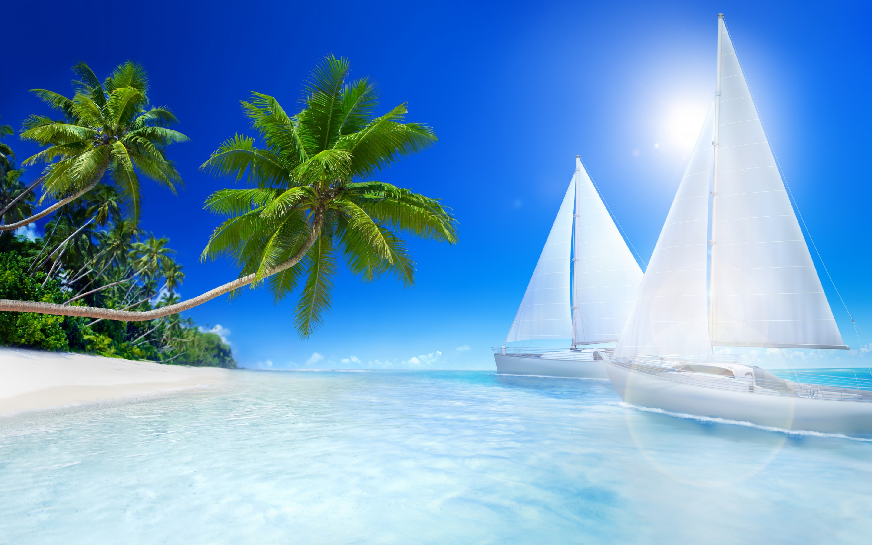 Cute Summer Wallpapers For Girls Tropical Beach Palms And Sailboat On The Sea