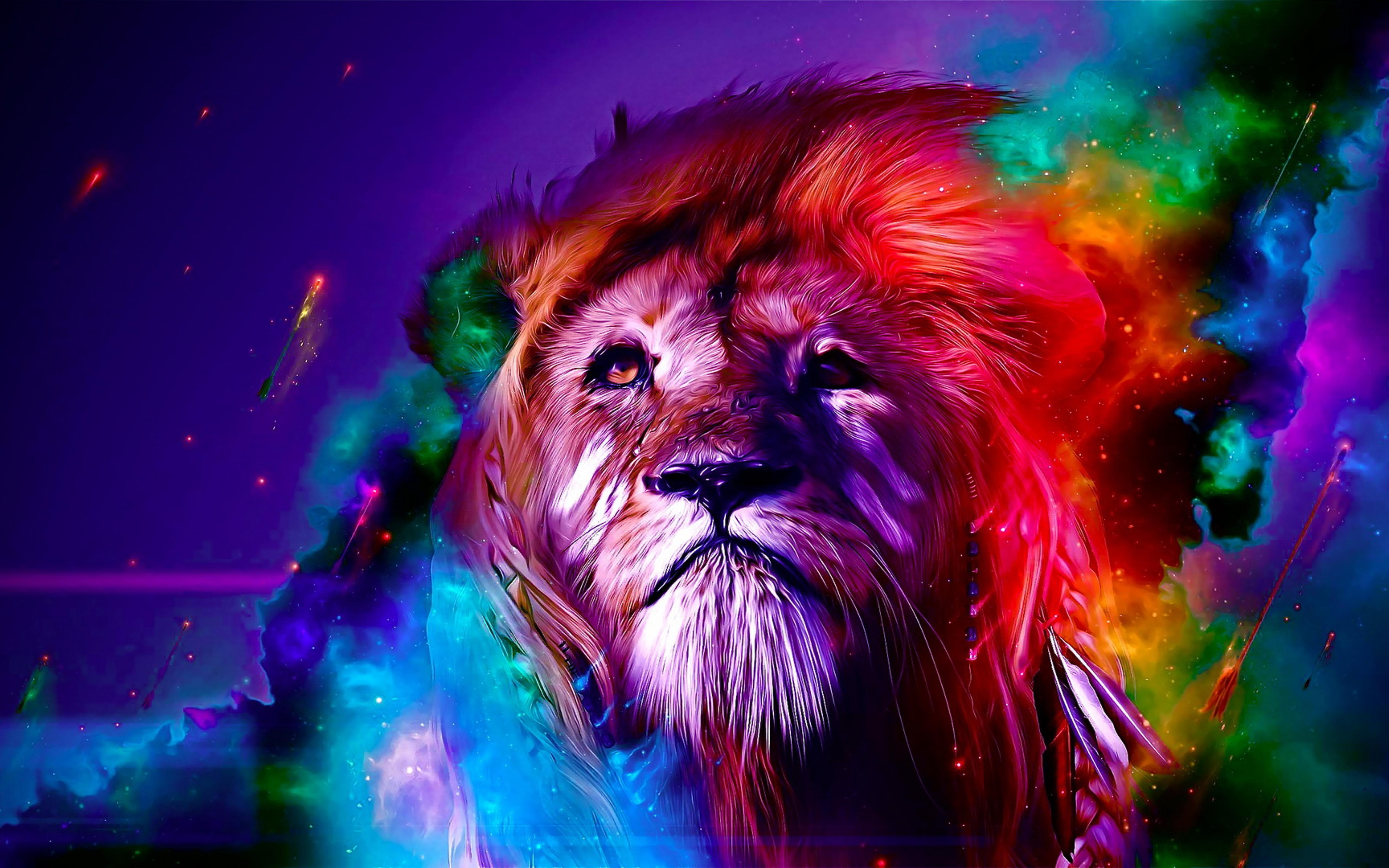 Epic Animal Wallpapers Wild Animal Colourful Leon Wallpaper Download 5120x3200