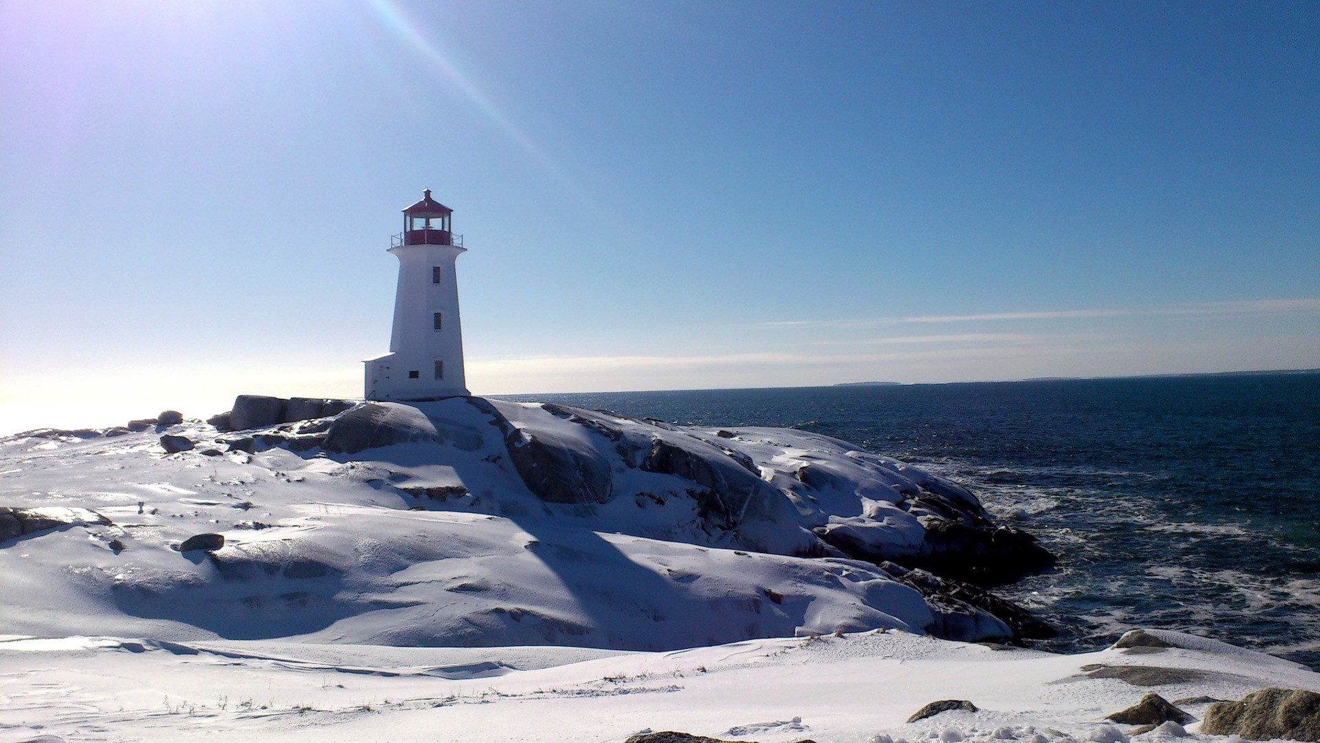 4k Fall Michigan Wallpaper Winter Time On The Sea Lighthouse In The Sun