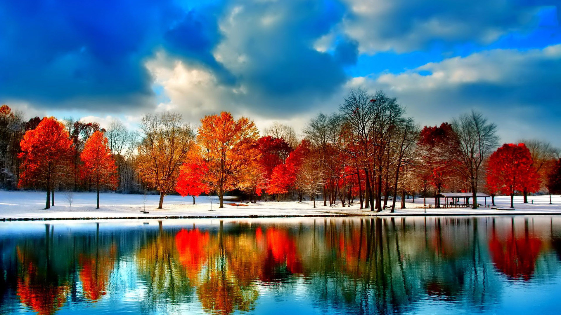 Seasonal Fall Coffee Desktop Wallpaper Wonderful Autumn Trees Mirror In The Lake