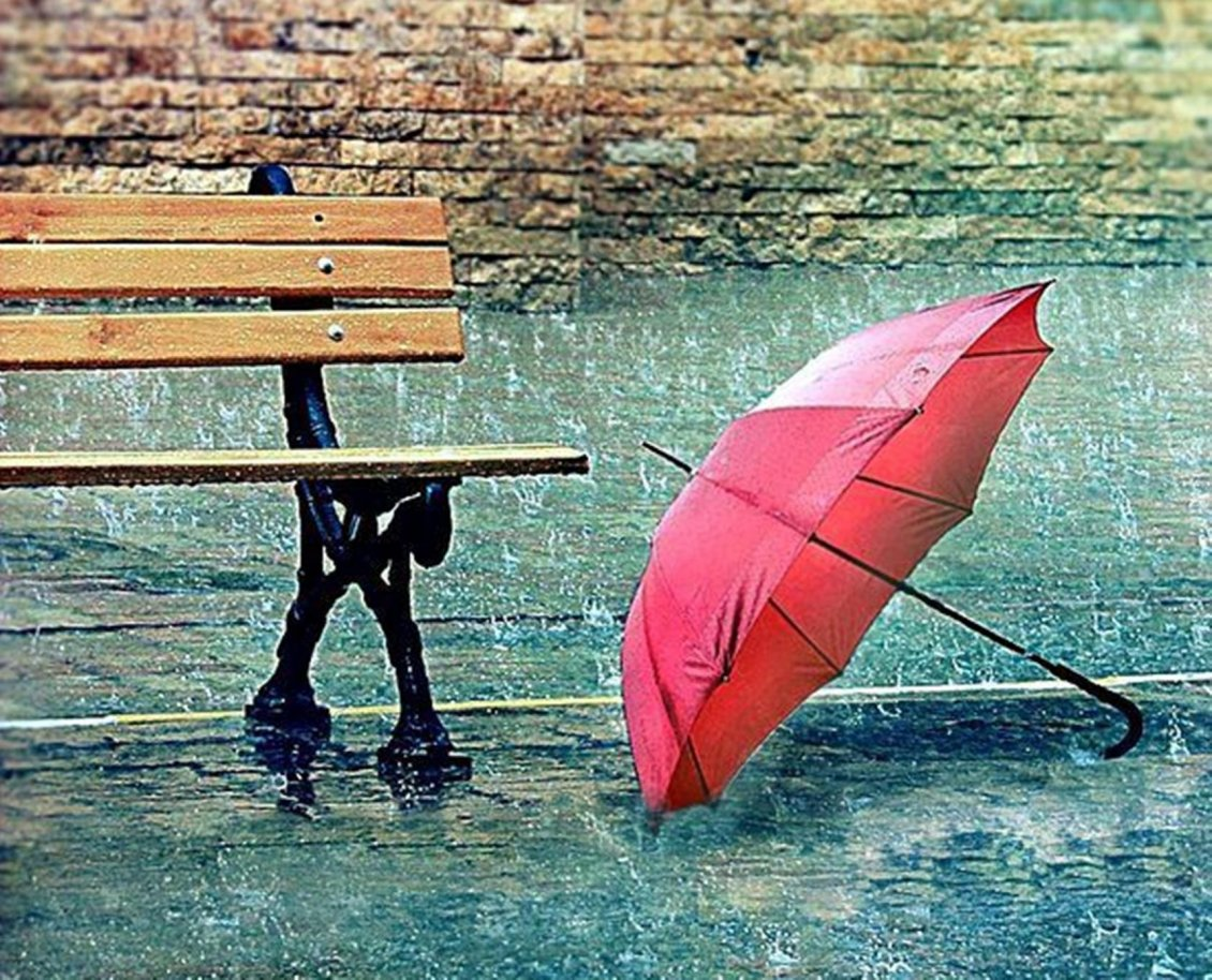 red umbrella near a