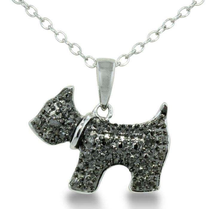 Adorable Black Diamond Scottie Dog Necklace in Sterling Silver