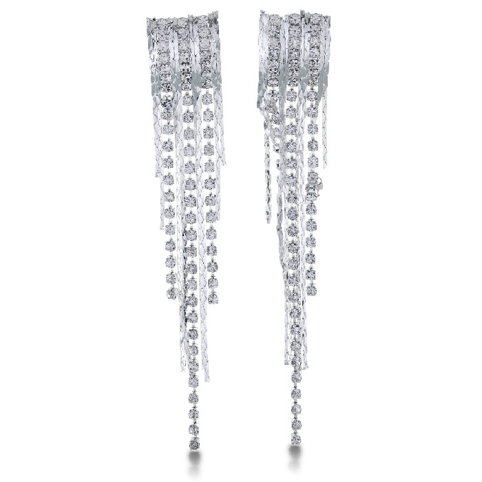 Dazzling Silver Tone Crystal Encrusted Dangle Earrings, 4 Inches Long