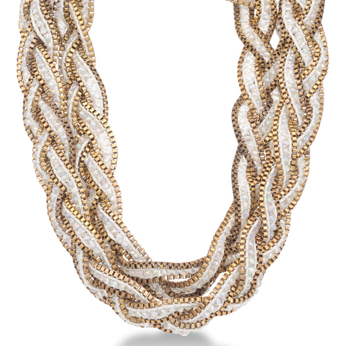 Braided White Crystal Necklace with Gold Tone Box Chain Border and Button Closure, 32 Inches Long