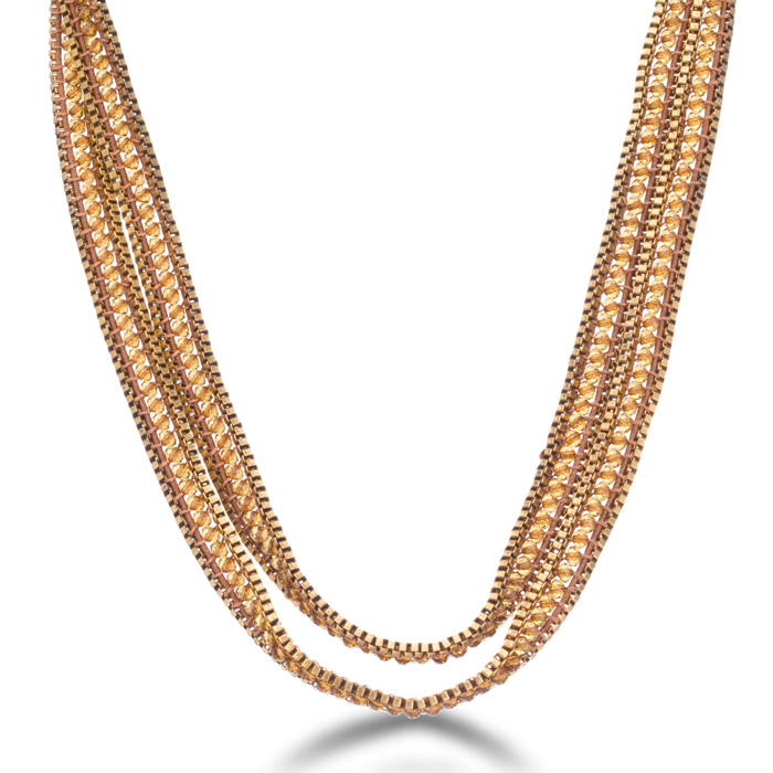 Crystal Wrap Box Chain Necklace