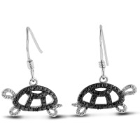 Step-Easy  Black Diamond Turtle Earrings Crafted In Solid...