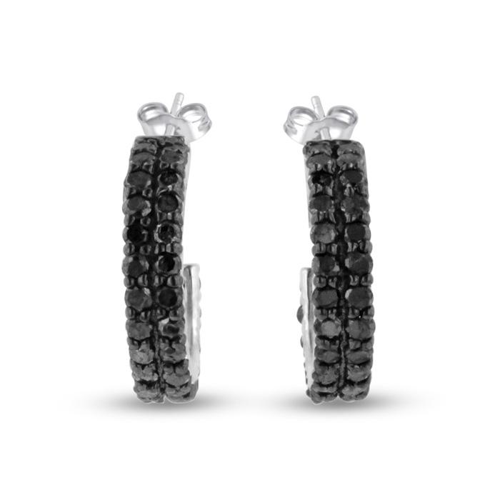 1ct Black Diamond Pave Hoop Huggy Earrings Crafted In Solid Sterling Silver