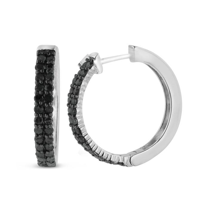 1ct Black Diamond Pave Hoop Earrings
