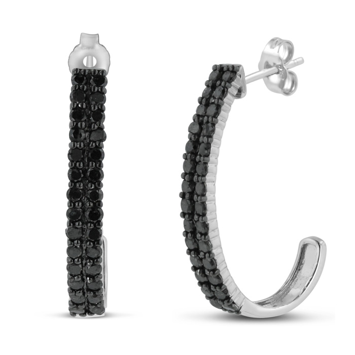 2ct Black Diamond Double Row Hoop Earrings Crafted In Solid Sterling Silver