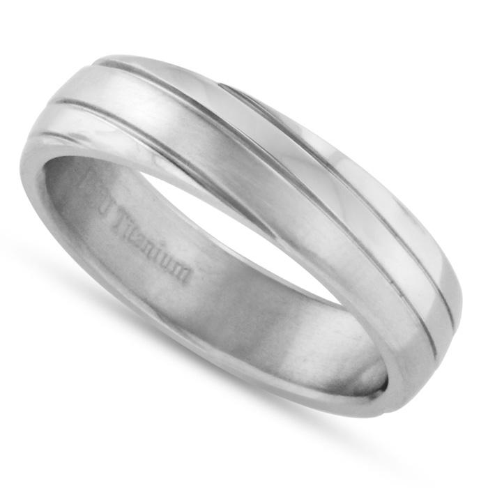 6 MM Brushed Finish Grooved Mens Titanium Ring Wedding
