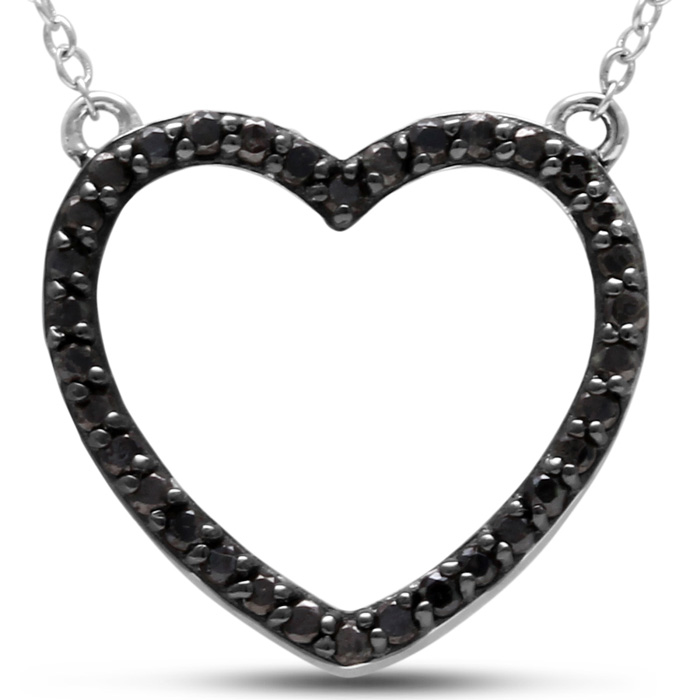 1/2ct Black Diamond Heart Necklace Crafted In Solid Sterling Silver, 18 Inches