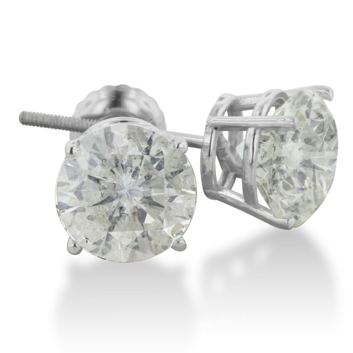 4ct Diamond Stud Earrings in 14k White Gold