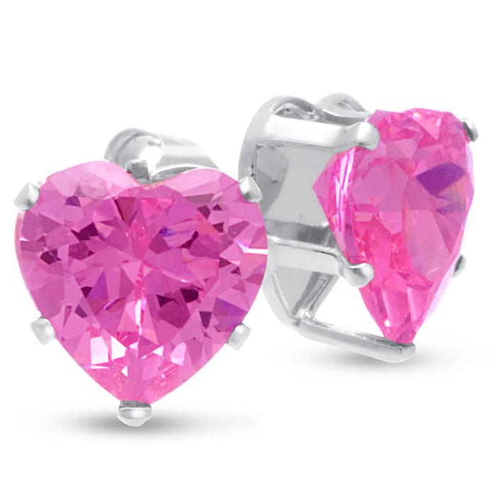 4ct Pink CZ Heart Earrings