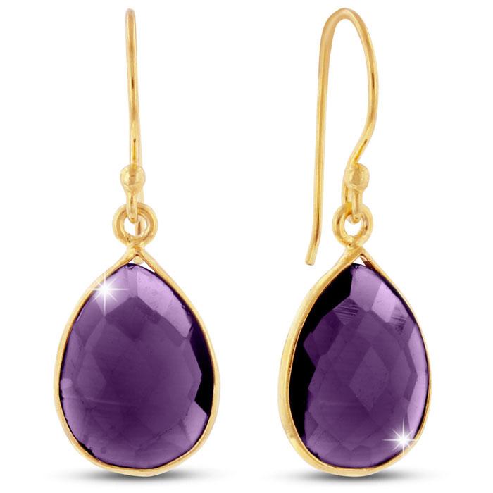 12ct Amethyst Teardrop Earrings in 18k Gold Overlay