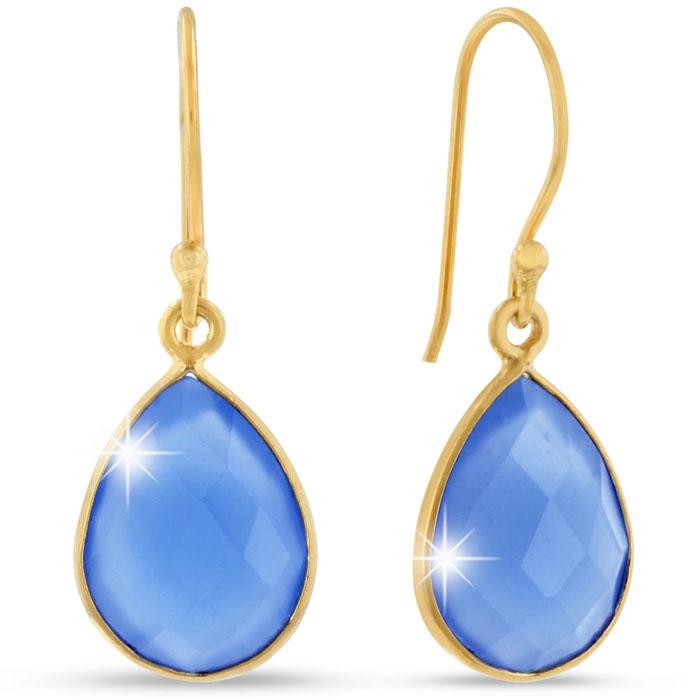 12ct Blue Chalcedony Teardrop Earrings in 18k Overlay