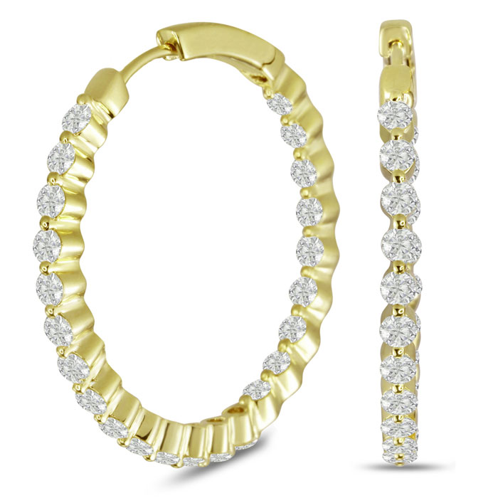 18K Yellow Gold 3 Carat Floating Diamond Hoop Earrings
