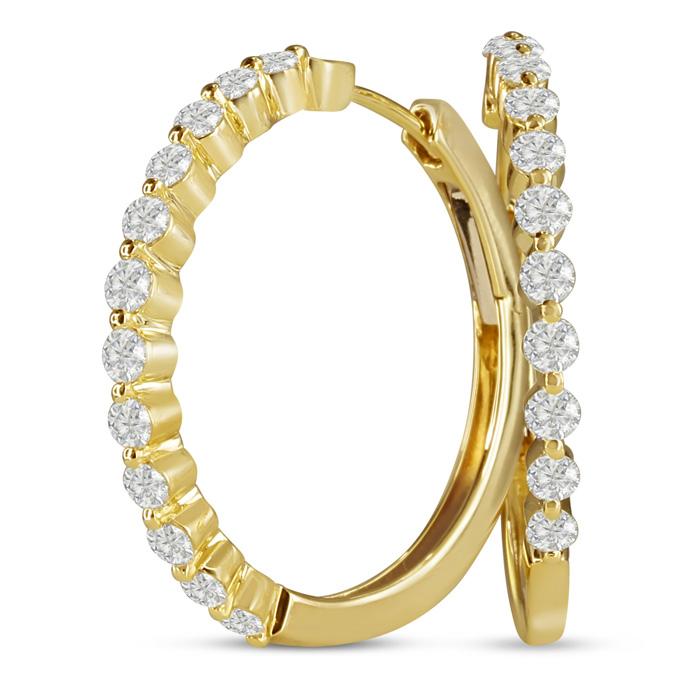 14K Yellow Gold 1.50 Carat Floating Diamond Hoop Earrings