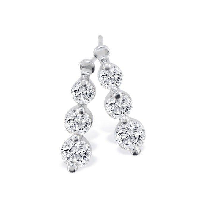 1ct Three Diamond Drop Style Diamond Earrings In 14k White Gold