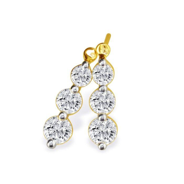 1ct Three Diamond Drop Style Diamond Earrings In 14k Yellow Gold