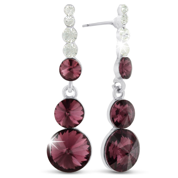 Rose Glass and Crystal Dangle Earrings
