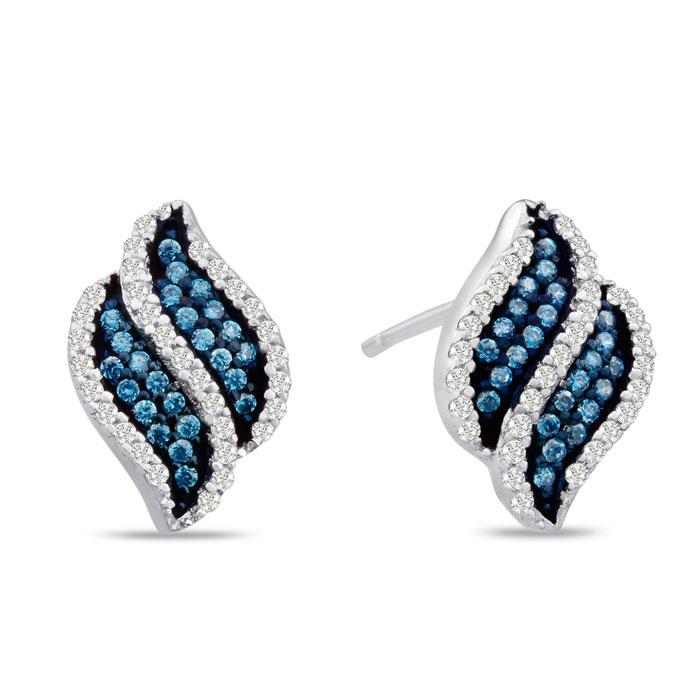 1/3ct Blue Diamond Swirl Earrings