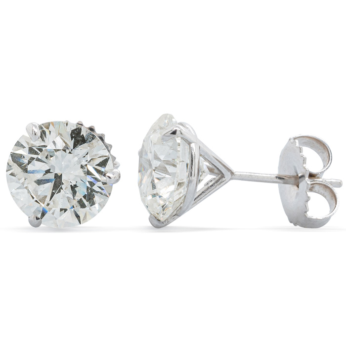 4ct Genuine Natural Diamond Studs in 14k White Gold Martini Setting