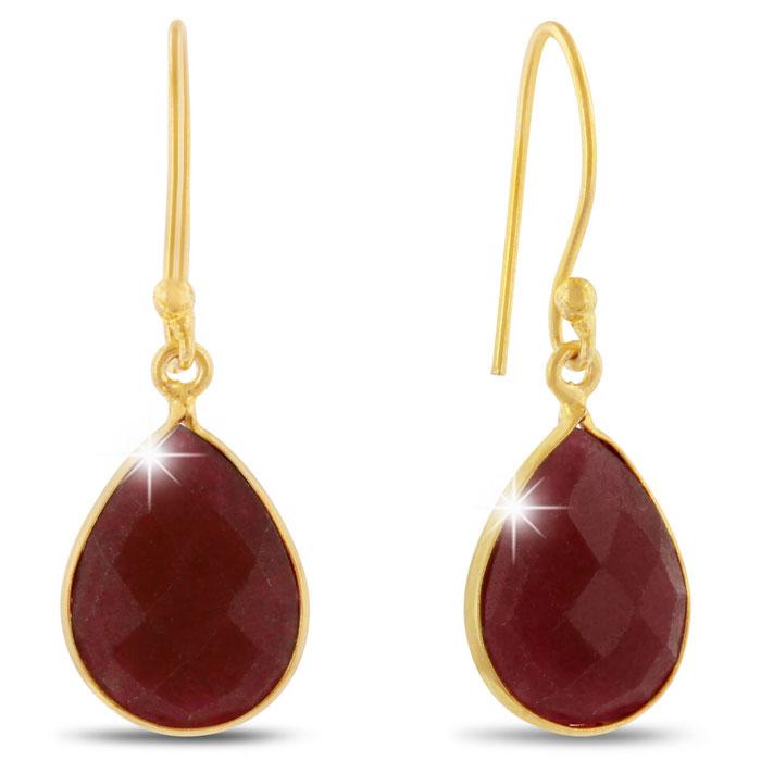 12ct Ruby Teardrop Earrings in 18k Gold Overlay