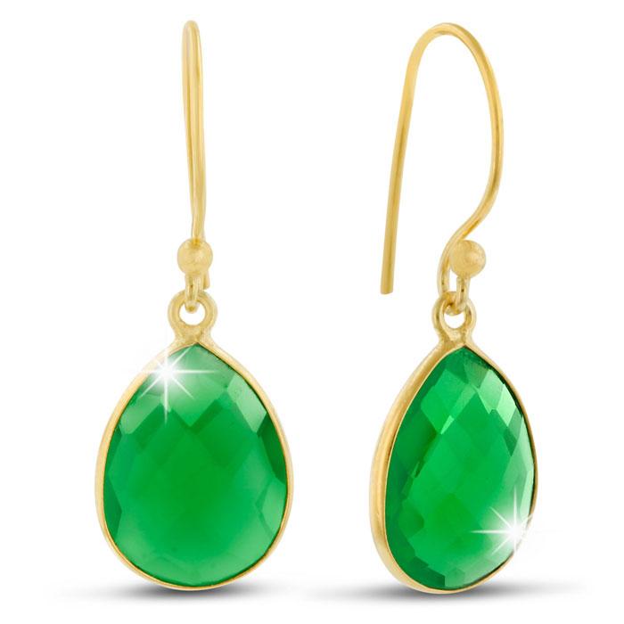 12ct Emerald Quartz Teardrop Earrings in 18k Gold Overlay