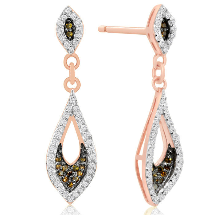 1/3ct Champagne and White Diamond Dangle Earrings