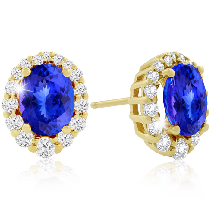 3.00 Carat Fine Quality Tanzanite And Diamond Earrings In 14K Yellow Gold