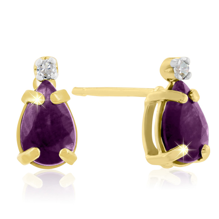1 1/4ct Pear Amethyst and Diamond Earrings in 14k Yellow Gold