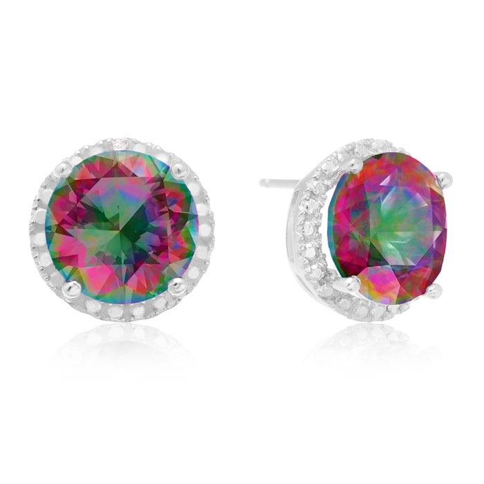 7ct Mystic Topaz Halo Earrings