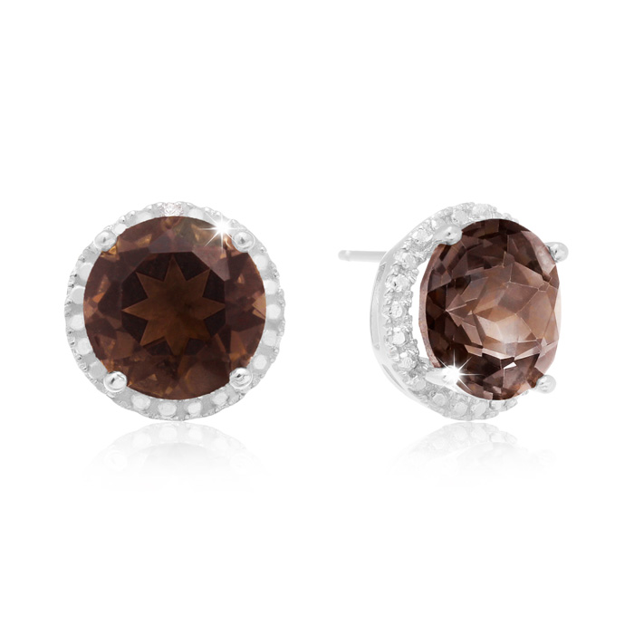 7 Carat Smoky Topaz Halo Stud Earrings In Sterling Silver