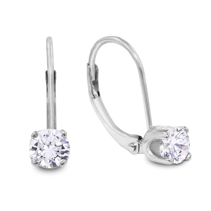 1/2 Carat Diamond Drop Earrings in 14k White Gold