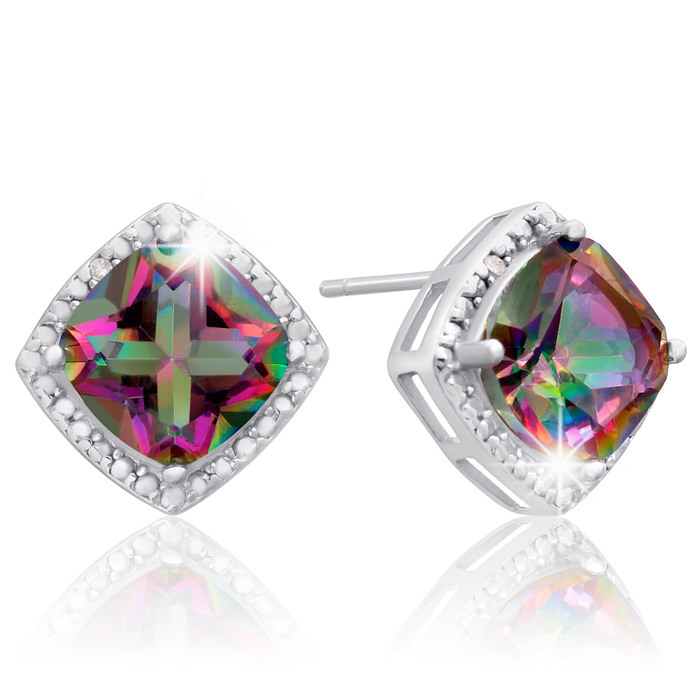 3 3/4ct Cushion Mystic Topaz and Diamond Earrings