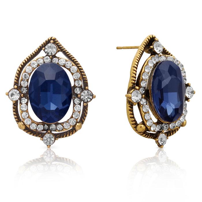 Ornate Swarovski Elements Blue Sapphire Halo Stud Earrings, Gold Overlay, Pushbacks